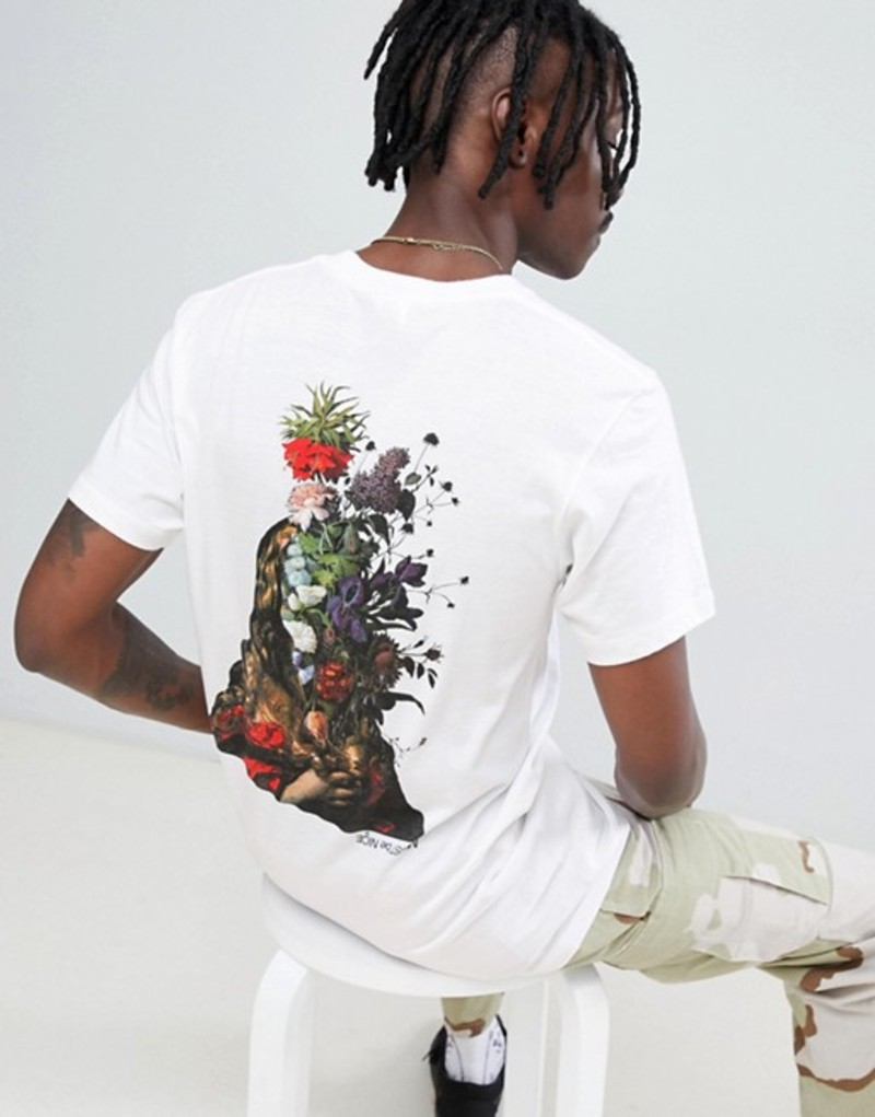 リップンディップ メンズ Tシャツ トップス RIPNDIP t-shirt with bouquet back print in white White