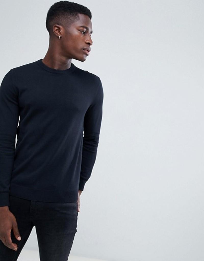 エスプリ メンズ ニット・セーター アウター Esprit Crew Neck Sweater In 100% Cotton With Logo In Black Black