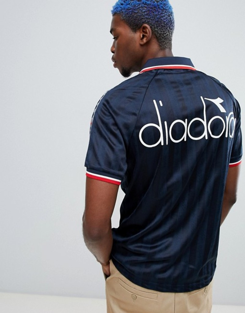 ディアドラ メンズ Tシャツ トップス Diadora Offside retro T-shirt with taping in navy Navy