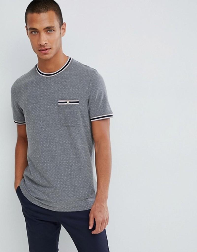 テッドベーカー メンズ Tシャツ トップス Ted Baker pique t-shirt in gray with polka dot Grey marl