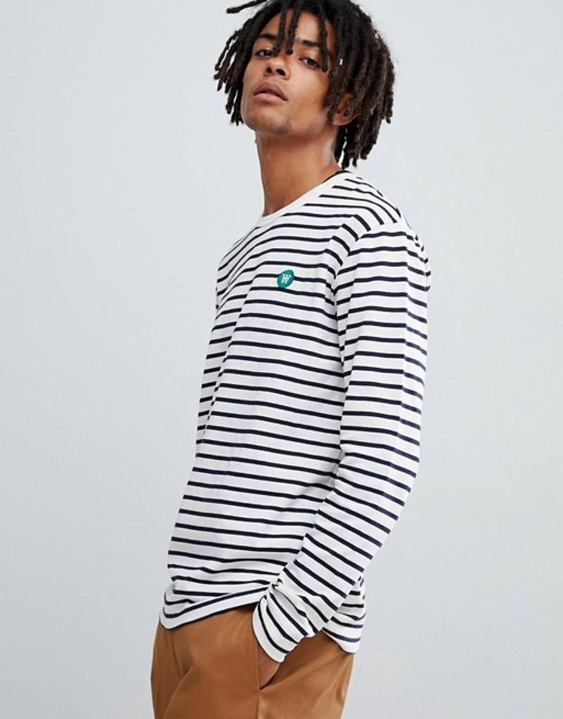 ウッド ウッド メンズ Tシャツ トップス Wood Wood Mel striped long sleeve t-shirt in white White
