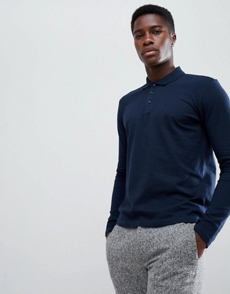 セレクテッドオム メンズ ポロシャツ トップス Selected Homme Long Sleeve Polo Shirt In Slim Fit Dark sapphire