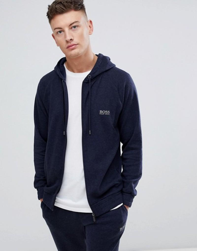 ボス メンズ パーカー・スウェット アウター BOSS bodywear cashmere zip through hooded jacket Navy