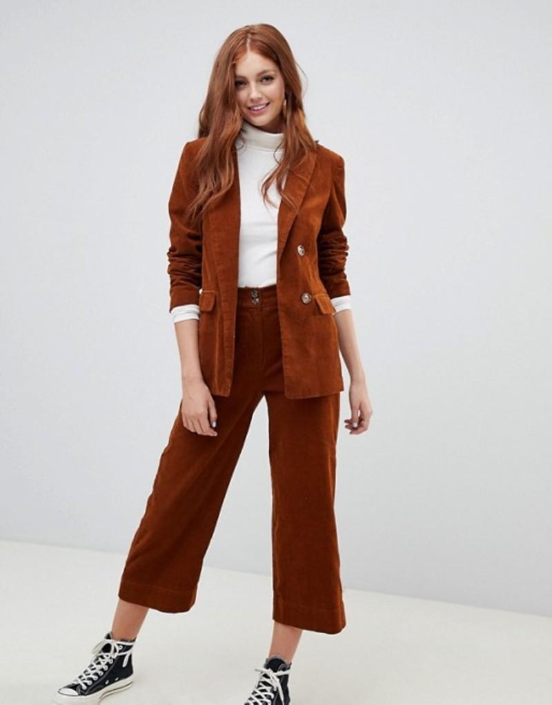 ニュールック レディース カジュアルパンツ ボトムス New Look Corduroy Crop PANTS Two-Piece Ginger