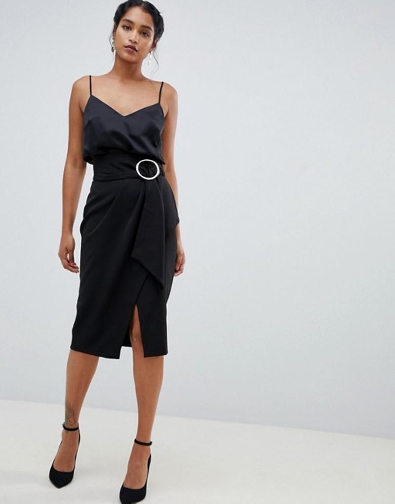クローゼットロンドン レディース スカート ボトムス Closet London wrap front midi skirt with buckle detail Black