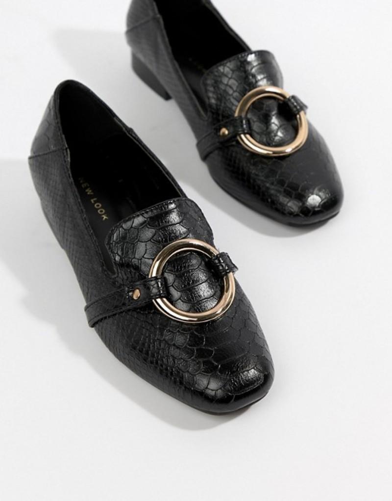 ニュールック レディース パンプス シューズ New Look Metal Ring Detail Loafers Black