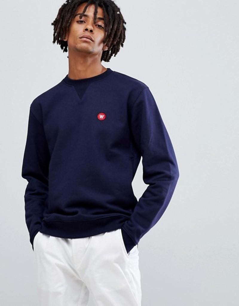ウッド ウッド メンズ パーカー・スウェット アウター Wood Wood tye sweatshirt with small logo in navy Navy