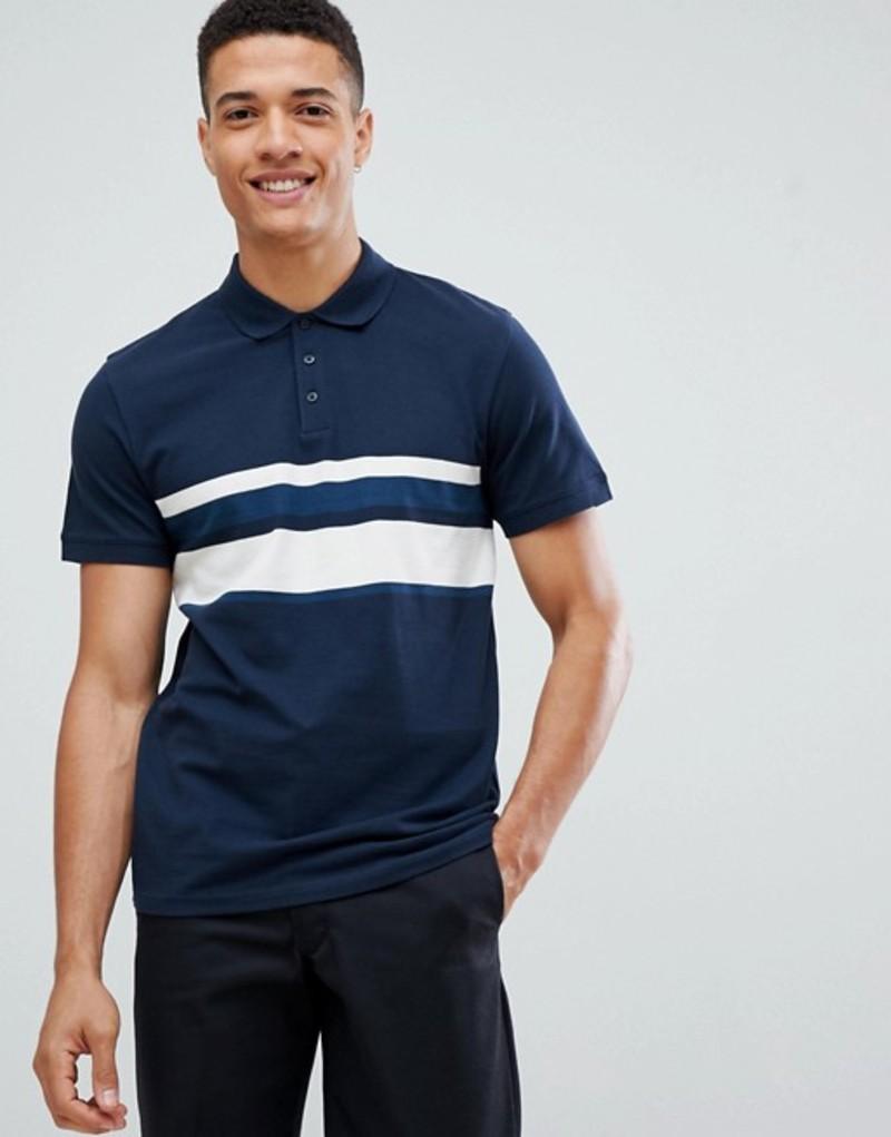 セレクテッドオム メンズ ポロシャツ トップス Selected Homme Polo Shirt With Block Stripe Detail Dark sapphire
