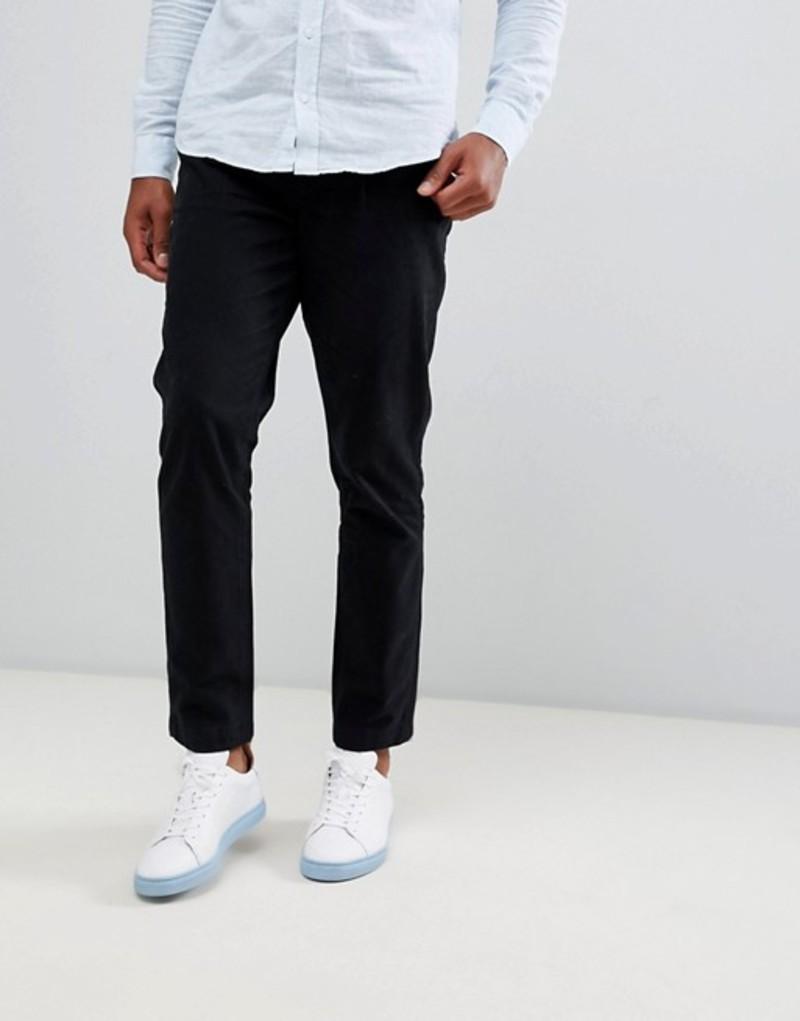 セレクテッドオム メンズ カジュアルパンツ ボトムス Selected Homme Tapered Fit Trousers In Organic Cotton Black