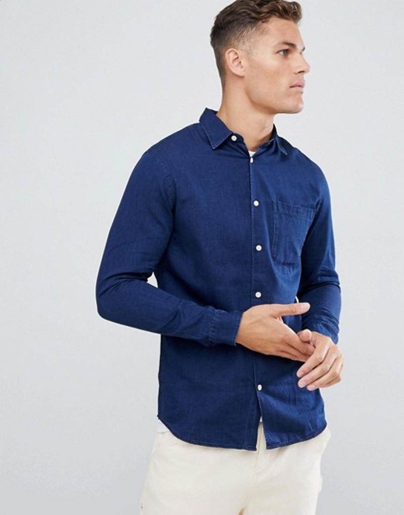 セレクテッドオム メンズ シャツ トップス Selected Homme Indigo Shirt In Slim Fit Organic Cotton Dark blue solid samp