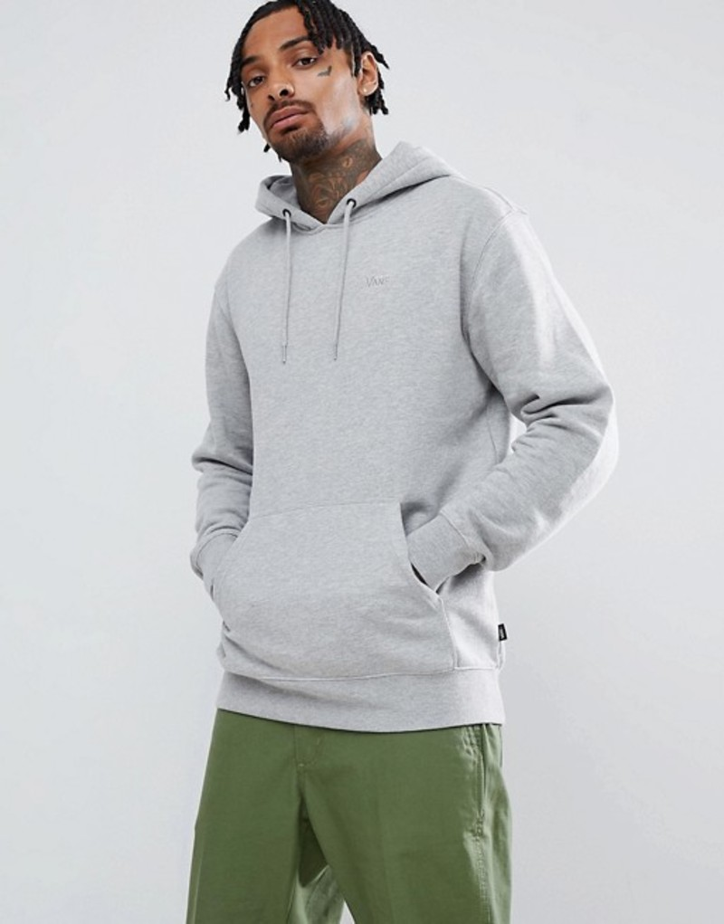 バンズ メンズ パーカー・スウェット アウター Vans small logo pullover hoodie in gray VN0A3HQ202F1 Grey