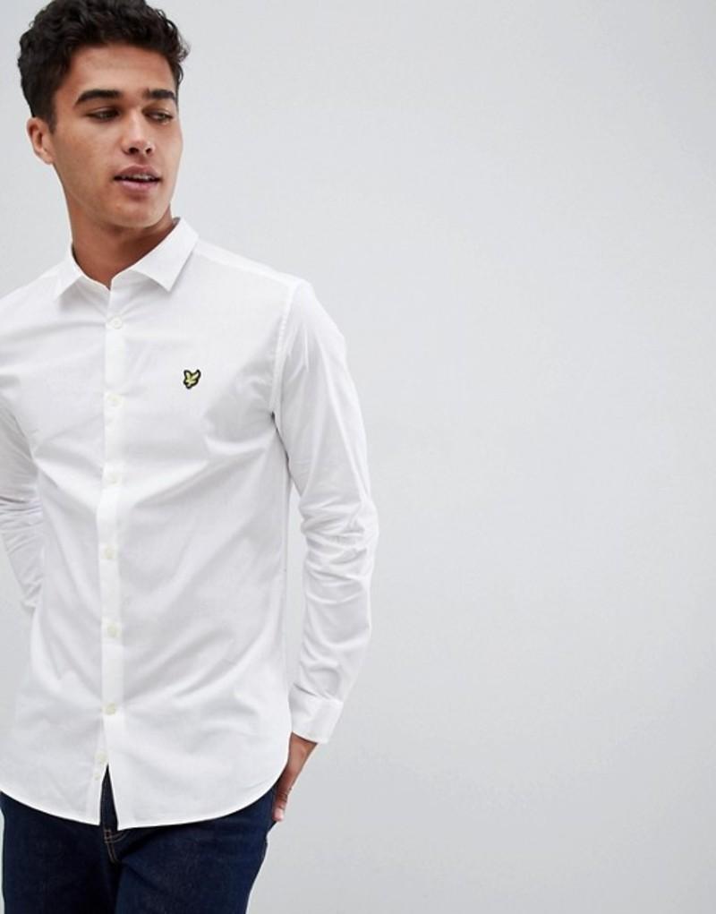 ライルアンドスコット メンズ シャツ トップス Lyle & Scott Buttondown Slim Fit Poplin Shirt With Stretch In White White