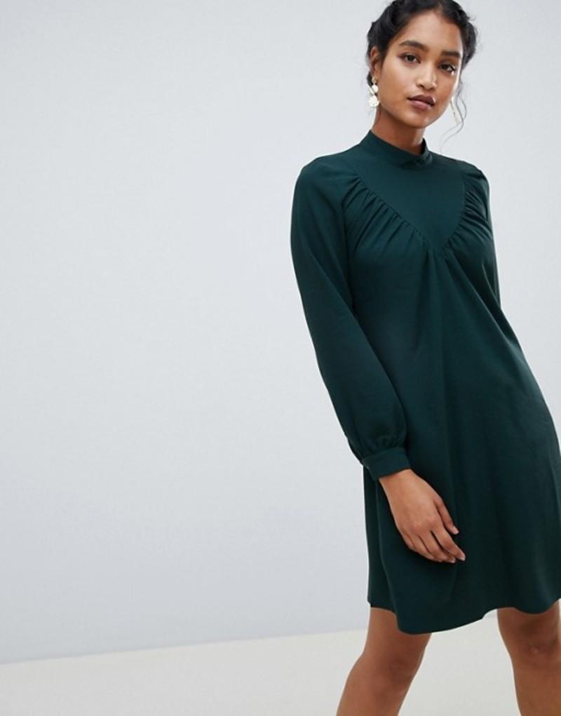 クローゼットロンドン レディース ワンピース トップス Closet London long sleeve shirt dress Dark green