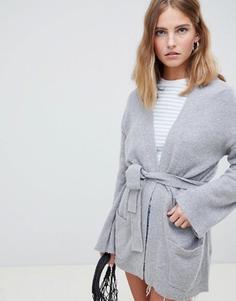 ビーヤング レディース カーディガン アウター b.Young Lux Belted Cardigan Med grey