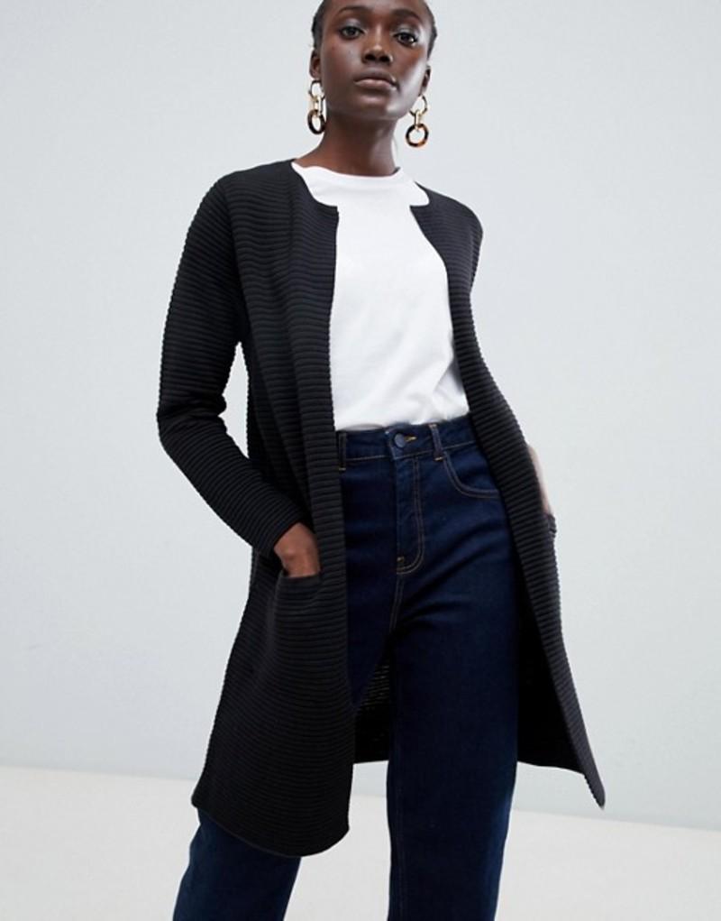 セレクティッド レディース カーディガン アウター Selected Lava ribbed knit cardigan Black