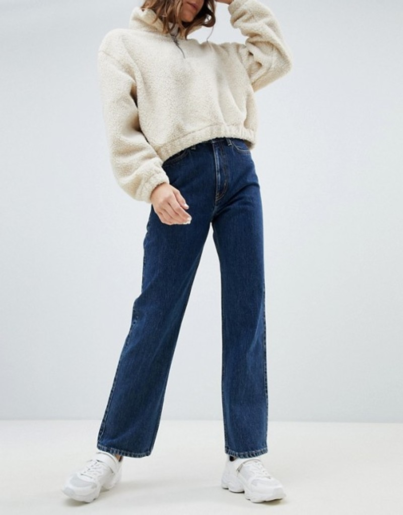 ウィークデイ レディース デニムパンツ ボトムス Weekday row high waist jeans in win blue in Organic Cotton Win blue