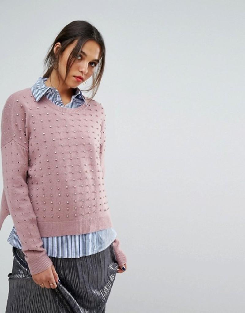 エッセンシャルアントワープ レディース ニット・セーター アウター Essentiel Antwerp Olaketal Pearls Stones Sweater Bombay brown