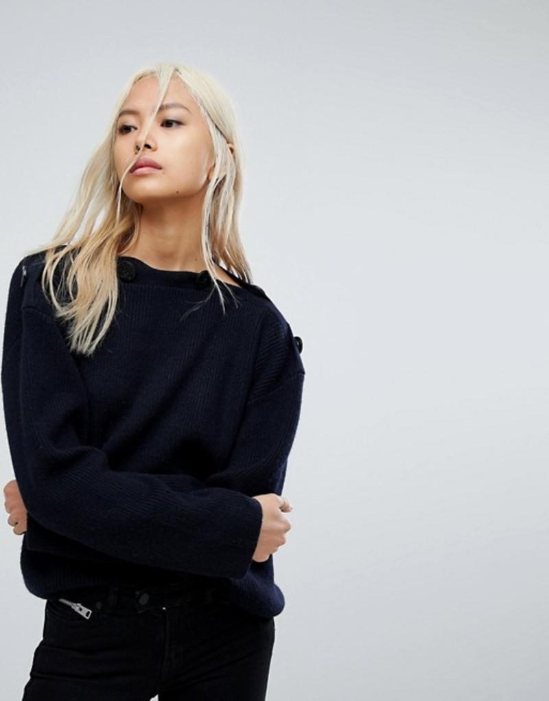オールセインツ レディース ニット・セーター アウター AllSaints Faye Oversized Slash Neck Sweater Ink blue