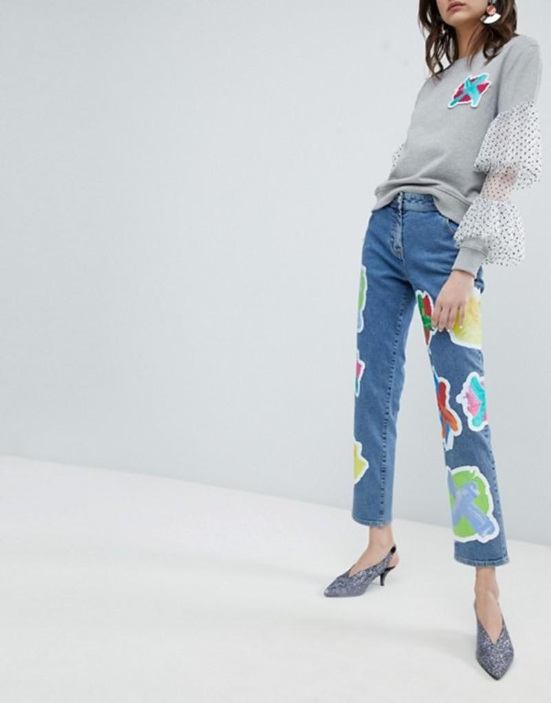 ハウスオブホーランド レディース デニムパンツ ボトムス House Of Holland Cross Patch Boyfriend Jeans Blue