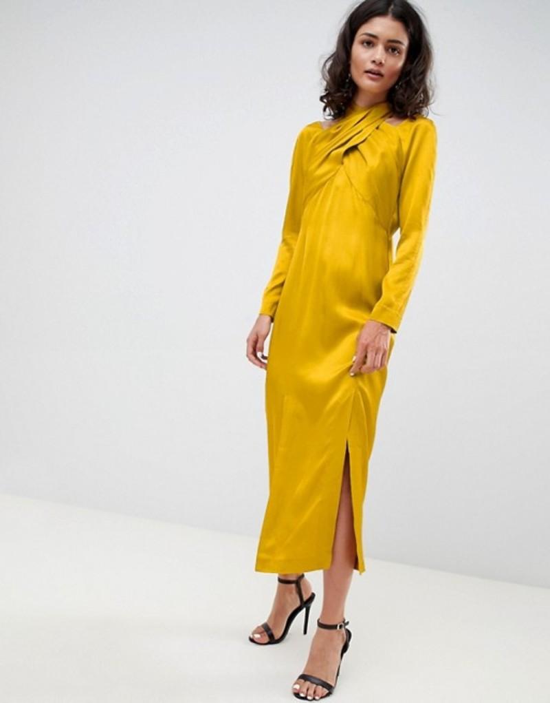 エイソス レディース ワンピース トップス ASOS WHITE midi dress with cross over detail Mustard