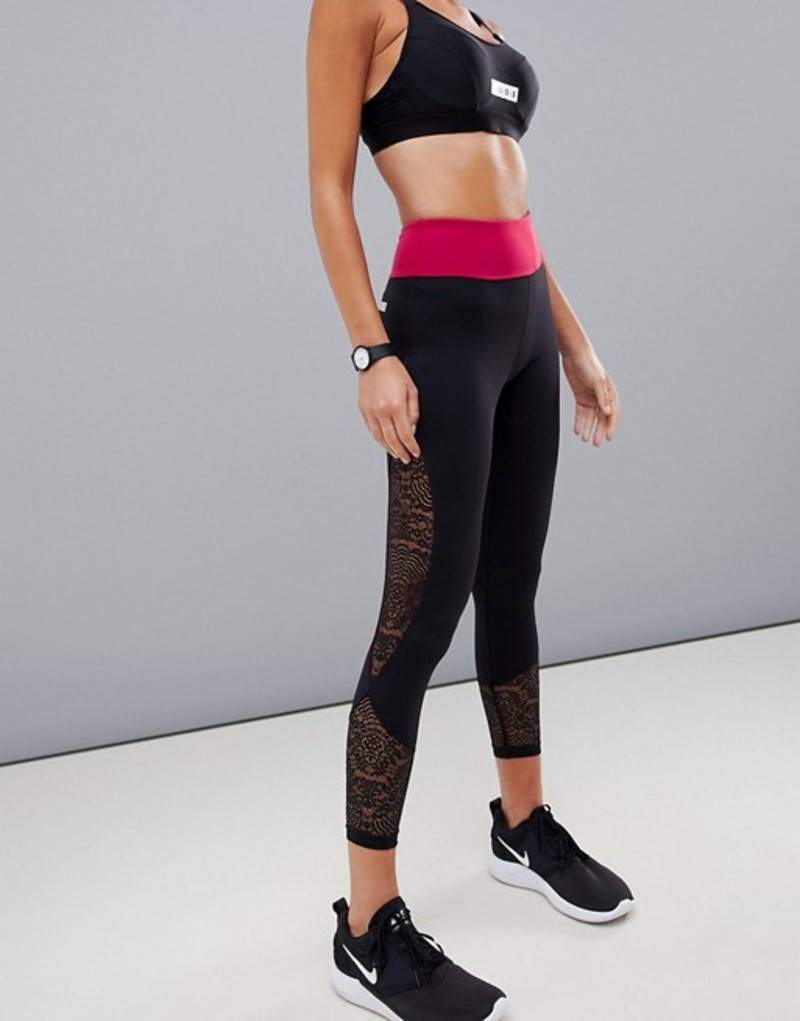 エイソス レディース レギンス ボトムス ASOS 4505 legging with lace panels and color block waistband Multi