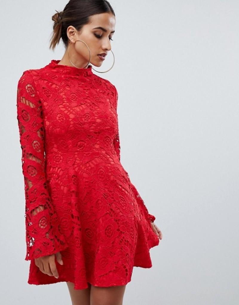 プリティリトルシング レディース ワンピース トップス PrettyLittleThing lace fluted sleeve skater dress in red Red