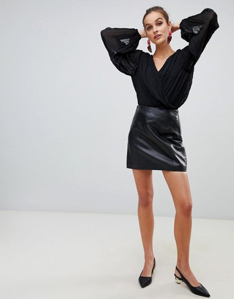 リバーアイランド レディース スカート ボトムス River Island premium real leather mini skirt in black Black