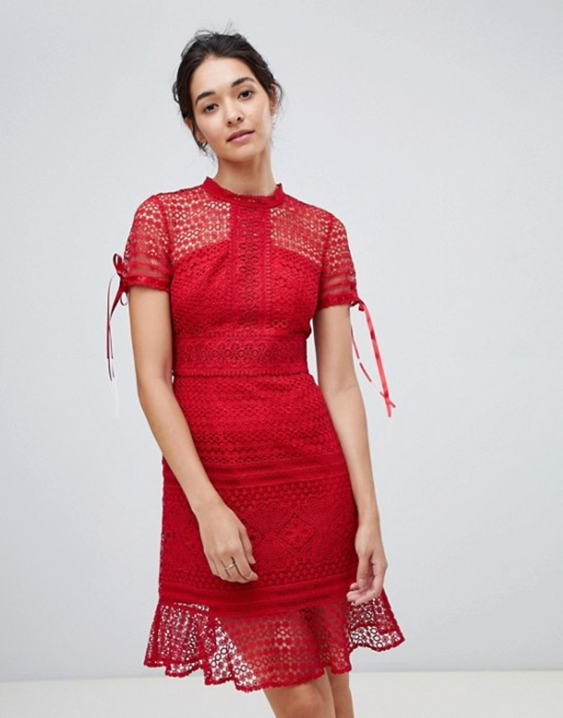 チチロンドン レディース ワンピース トップス Chi Chi London allover lace midi dress with high neck and short sleeve in wine Wine