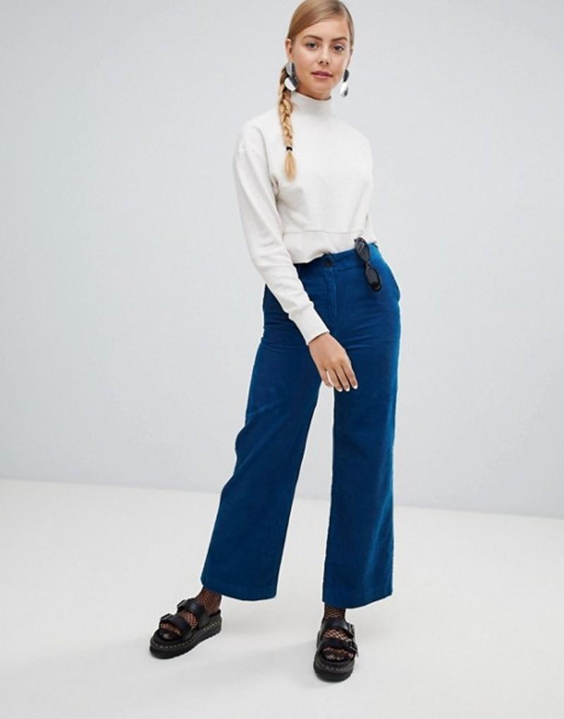 モンキ レディース カジュアルパンツ ボトムス Monki wide leg cord pants in blue Blue