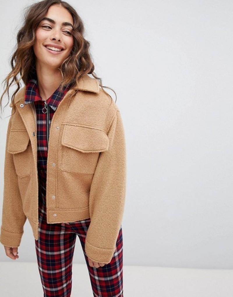 モンキ レディース ジャケット・ブルゾン アウター Monki textured short jacket with oversized pockets in beige 13-312 beige