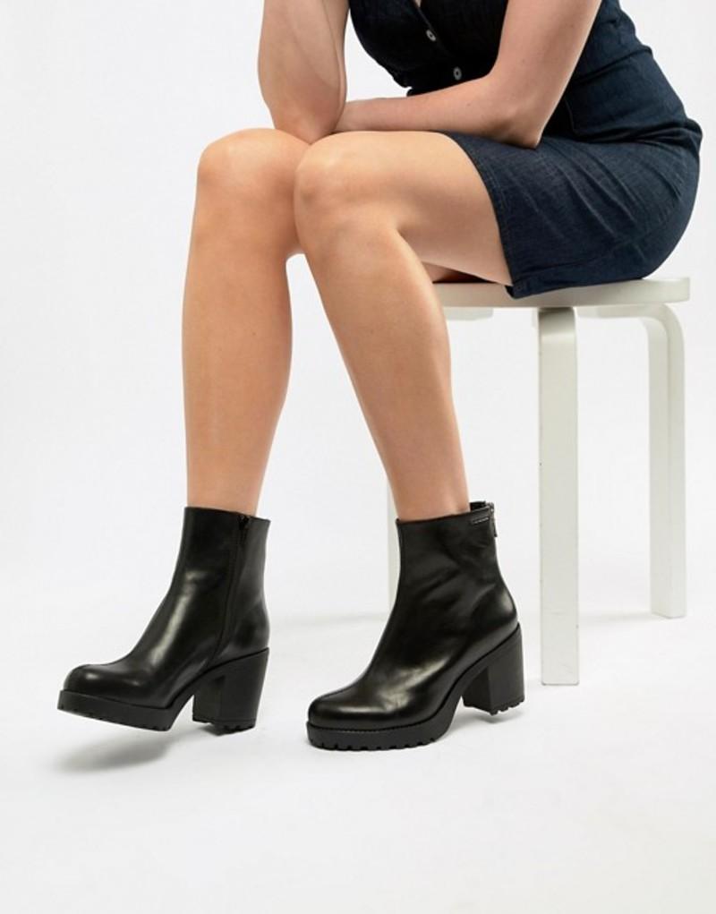 バガボンド レディース ブーツ・レインブーツ シューズ Vagabond Grace CHUNKY Leather Ankle Boot Black