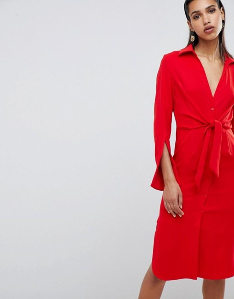 ラビッシュアリス レディース ワンピース トップス Lavish Alice gathered tie waist shirt dress Red
