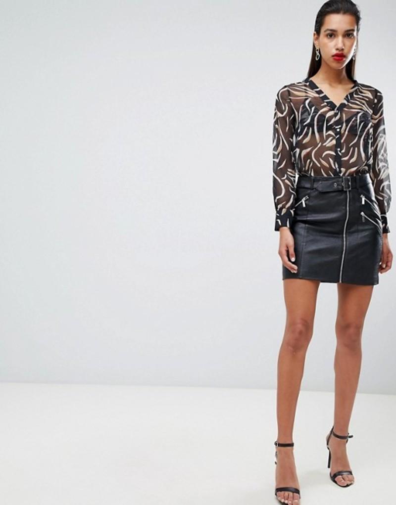 モーガンレーン レディース スカート ボトムス Morgan faux leather mini skirt with zip detail Black