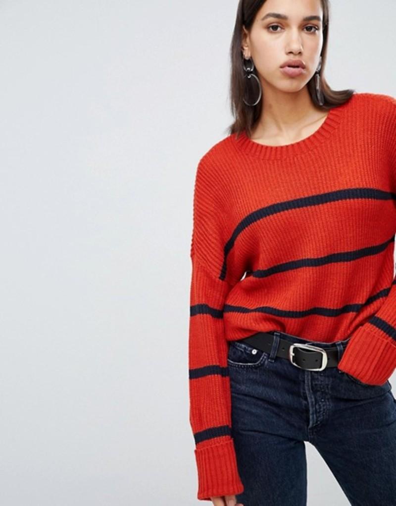 ヴェロモーダ レディース ニット・セーター アウター Vero Moda Striped Knitted Sweater Night sky comb