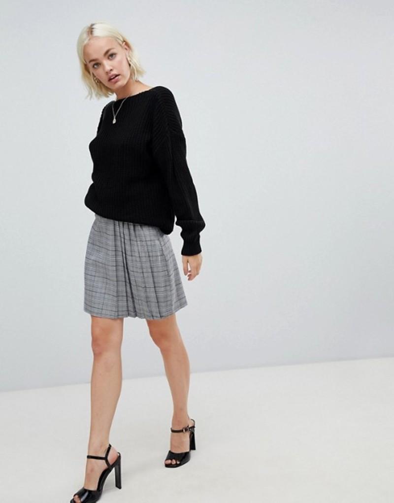 グラマラス レディース スカート ボトムス Glamorous mini skirt with pleated side in prince of wales check Pow check