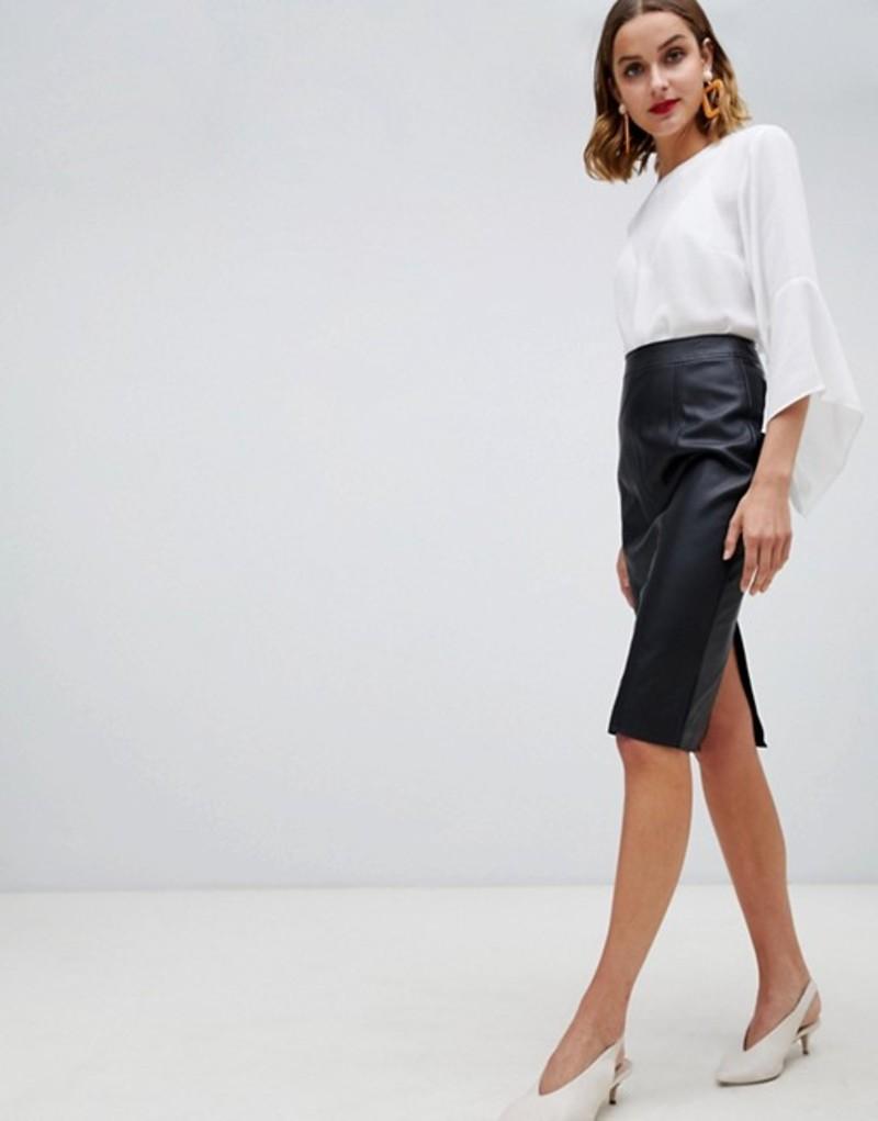 ウエアハウス レディース スカート ボトムス Warehouse faux leather seamed pencil skirt in black Black