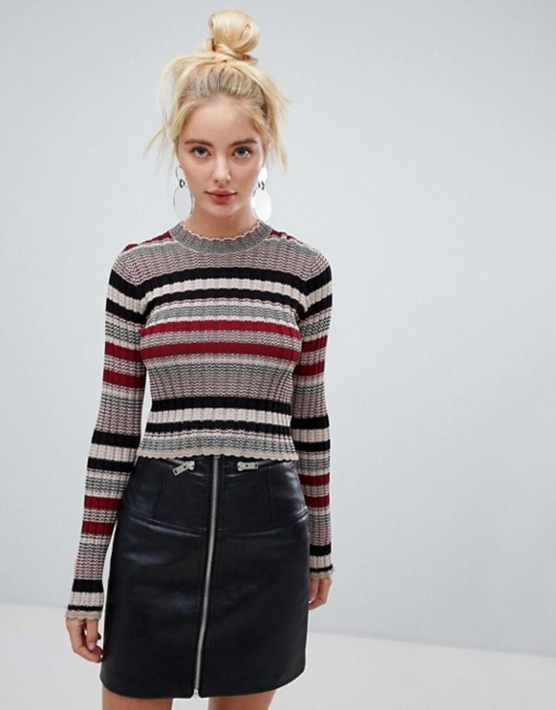 ファッションモンキー レディース ニット・セーター アウター Fashion Union Cropped Sweater In Multi Stripe Multi stripe