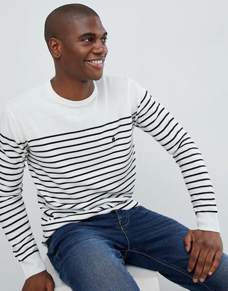フレンチコネクション メンズ ニット・セーター アウター French Connection Breton Stripe Crew Neck Sweater Ecru