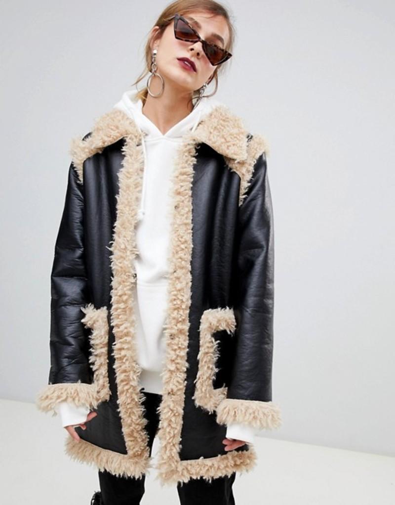 ストーリオブローラ レディース コート アウター Story Of Lola PU Coat With Faux Shearling Black/beige
