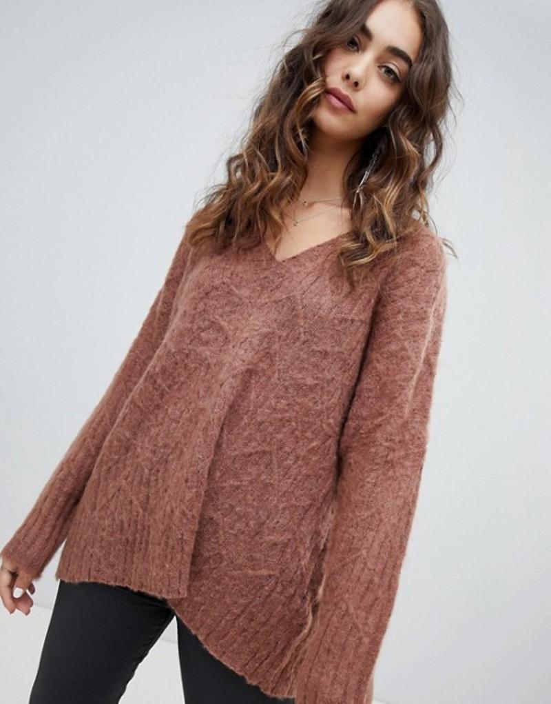 レリジョン レディース ニット・セーター アウター Religion fluffy knit oversized v-neck cable knit sweater Rich rust