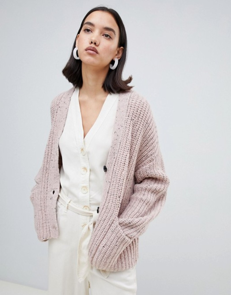 セレクティッド レディース カーディガン アウター Selected Femme chunky knit cardigan Pink