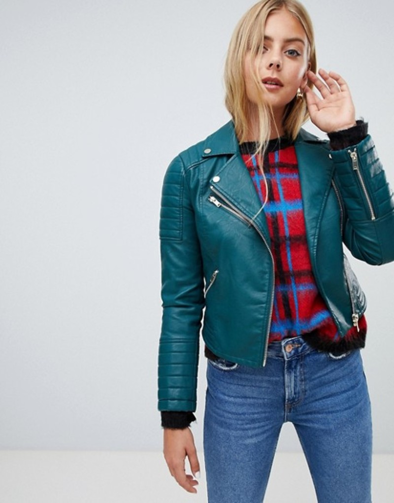 ミスセルフフリッジ レディース ジャケット・ブルゾン アウター Miss Selfridge faux leather biker jacket in turquoise Dark green
