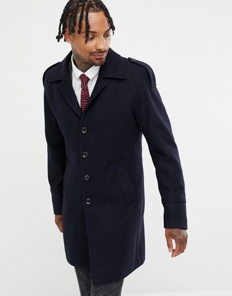ジャンニ フェロー メンズ コート アウター Gianni Feraud Premium Wool Blend Raglan Trench Navy