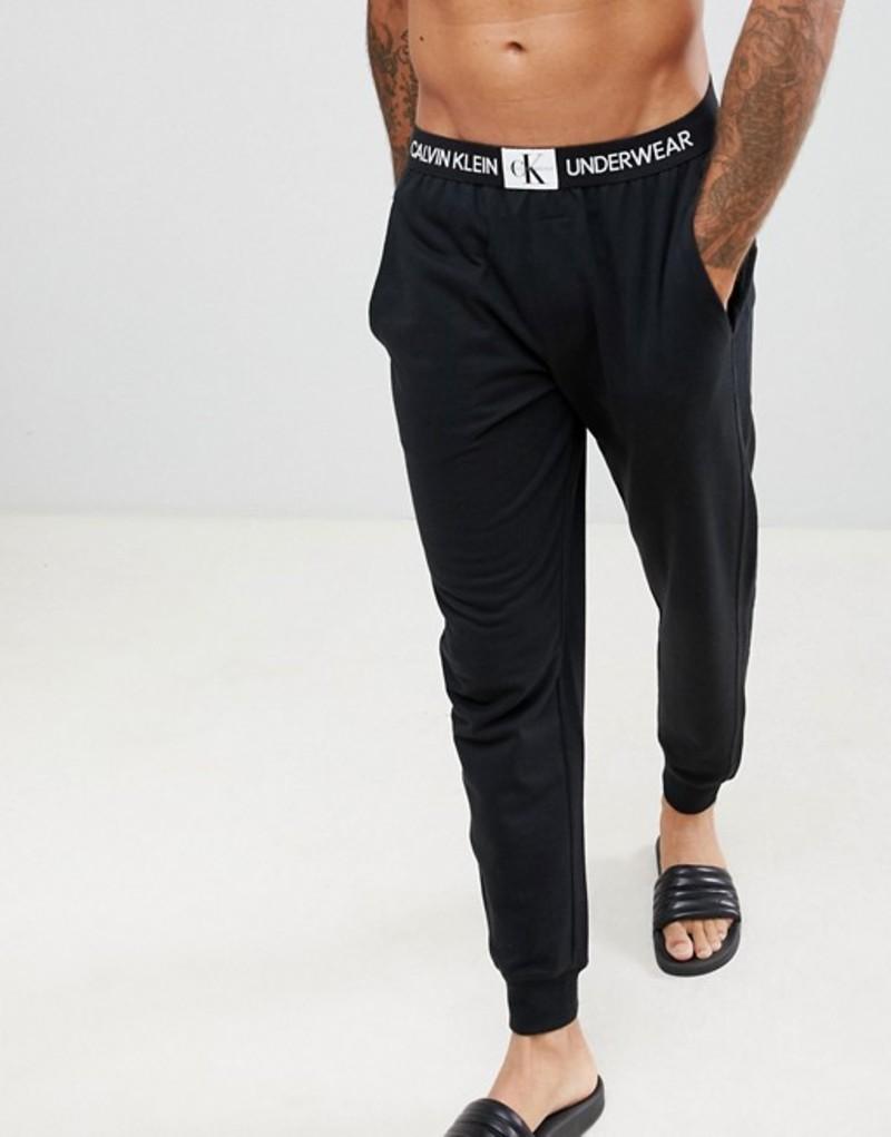 カルバンクライン メンズ カジュアルパンツ ボトムス Calvin Klein Monogram Joggers with Cuffed Ankle Black