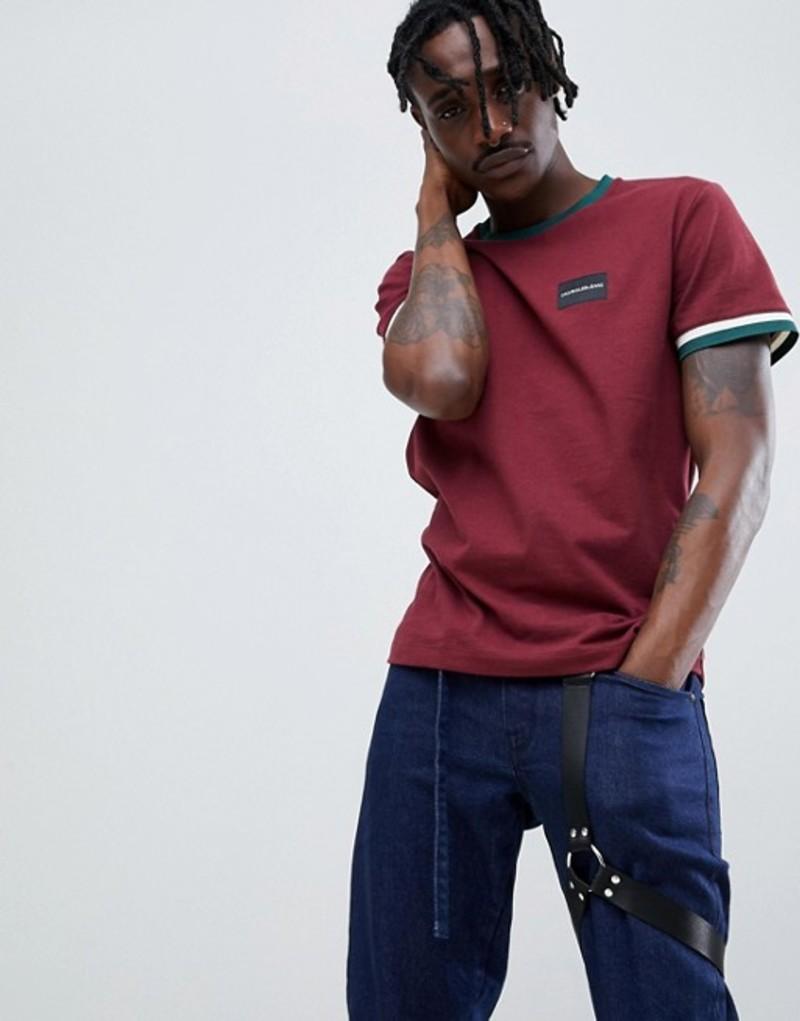 カルバンクライン メンズ Tシャツ トップス Calvin Klein Jeans t-shirt with contrast ringer detail Tawny port