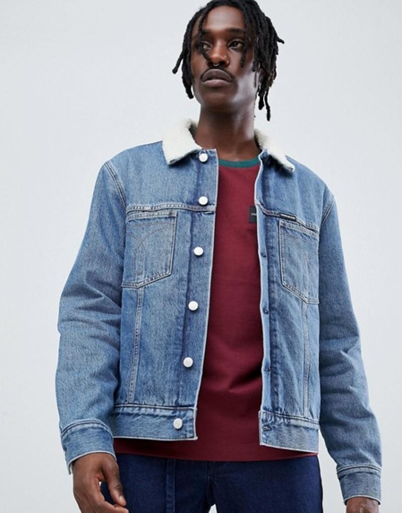 カルバンクライン メンズ ジャケット・ブルゾン アウター Calvin Klein Jeans denim fleece lined jacket with jeans pocket detail Nepal blue
