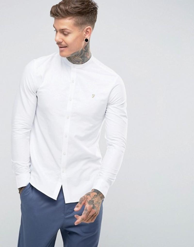 ファーラー メンズ シャツ トップス Farah Brewer slim fit grandad collar oxford shirt in white White
