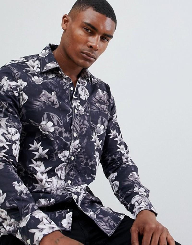 リプレイ メンズ シャツ トップス Replay All Over Floral Slim Fit Shirt Black print 10