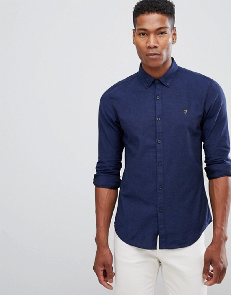 ファーラー メンズ シャツ トップス Farah Steen slim fit textured shirt in blue Blue