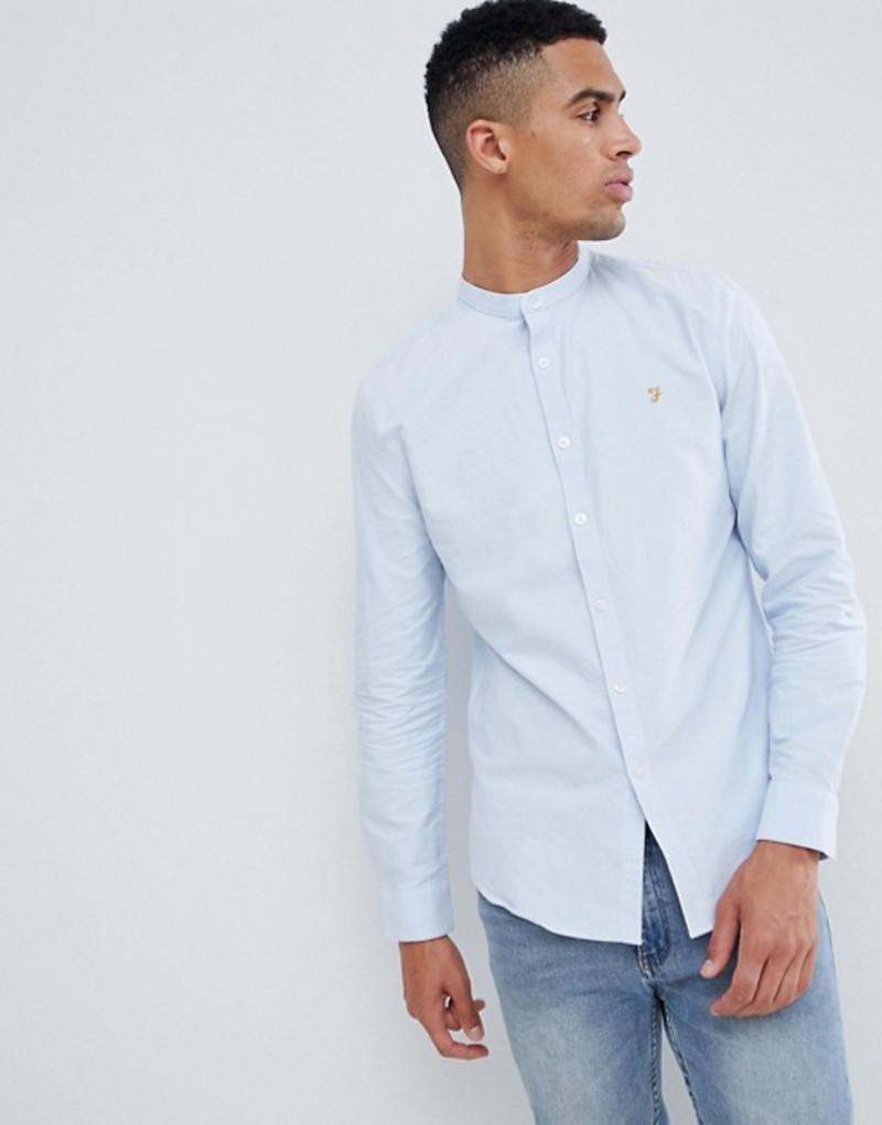 ファーラー メンズ シャツ トップス Farah Brewer slim fit grandad collar oxford shirt in blue Blue